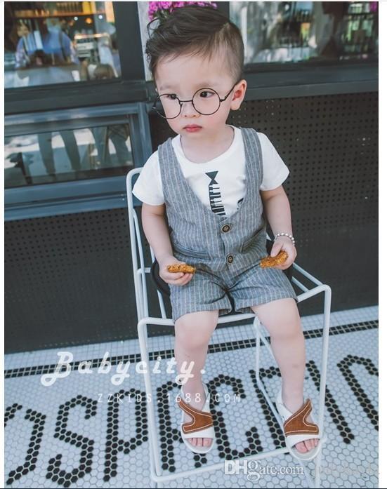 2016 piccoli ragazzi Gentleman stile della banda di estate Set di abbigliamento Baby Boy manica corta T-shirt + panciotto + Shorts stabilito del bambino del vestito dei capretti Outfits