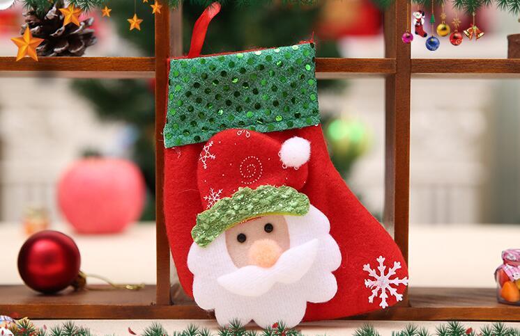 Brillant Sequin De Noël Chaussettes Décorations Vente Chaude De Noël Bas Chaussettes Santa Claus Bonbons Cadeau Sac De Noël Décoration Suspendue