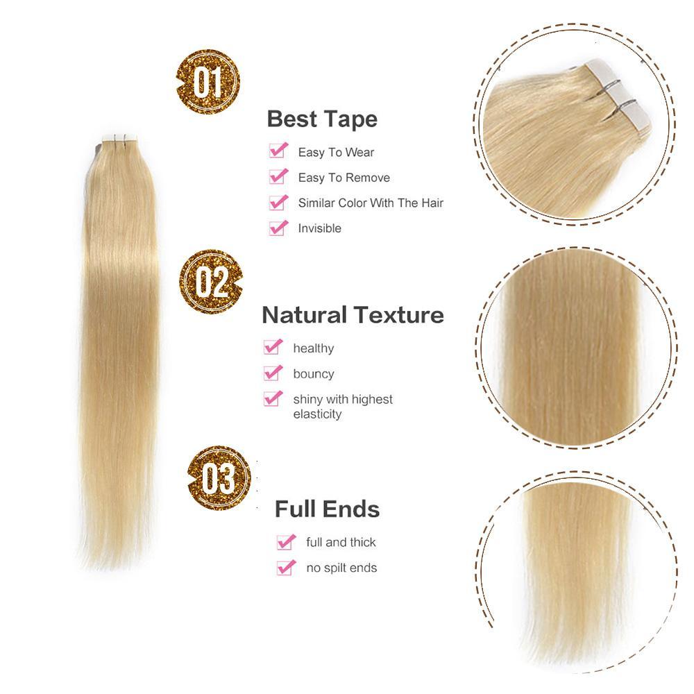 PU glue in hair extension Straight Remy Human Hair #613 Bleach Blonde Party Style Brazilian Grace Hair