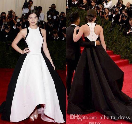 Golden Globe Hailee Steinfeld Знаменитости Вечерние платья 2019 Черно-белая атласная взлетно-посадочная полоса красный ковер встречал гала Hi-lo Prom формальные платья
