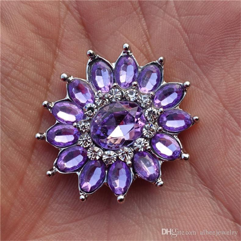 Mix Colors Fashion Luxury Rhinestone Flower Noosa Chunks Metal Ginger 18mm Snap Buttons For Bracelet Jewelry Findings