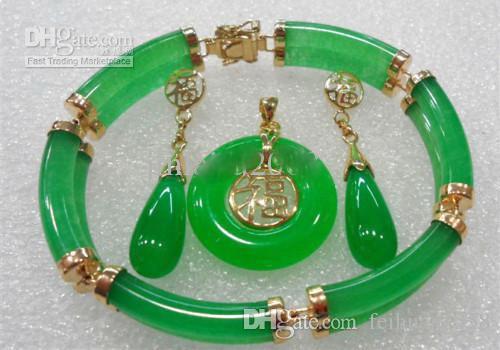 2 строки зеленый нефрит браслет серьги кулон Necklac комплект ювелирных изделий