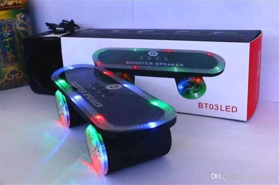 2016 DHL Creative with lights outdoor scooter wireless bluetooth audio card speakers BT03LED subwoofer player