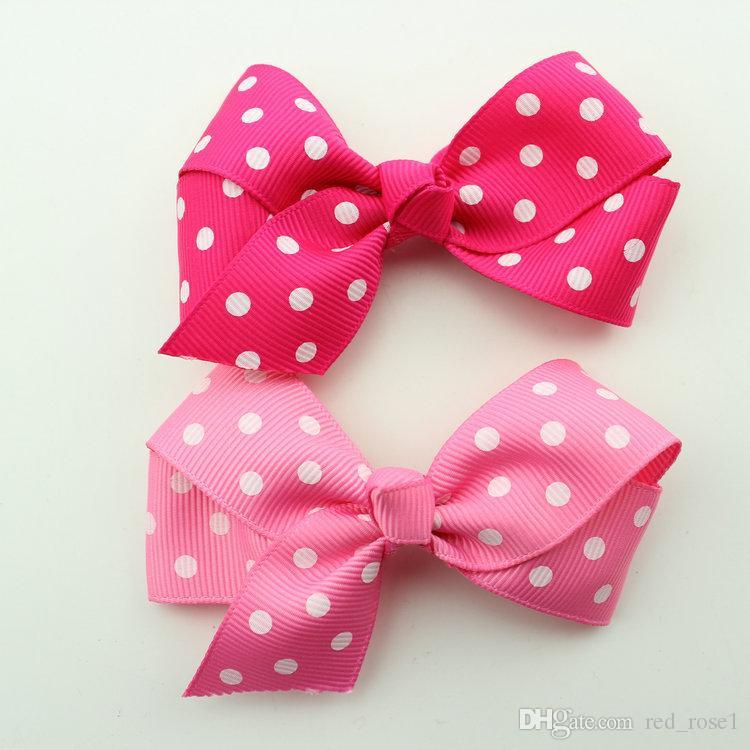 Clip capelli bambini Baby Kids Girls Dot Ribbon Rich Manuale 7cm Bow Hair Clip Accessori capelli