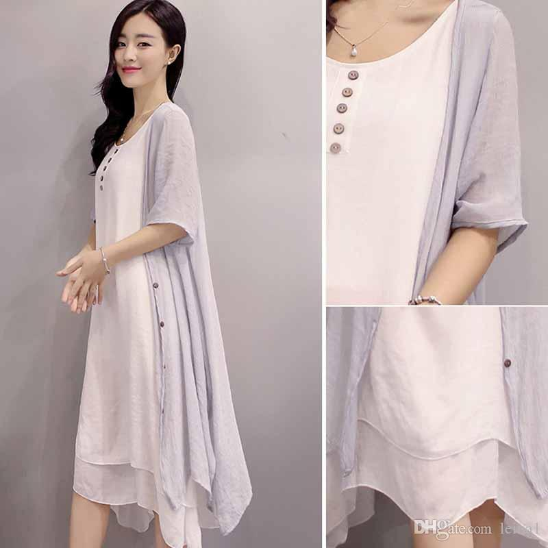 Weste Frauen Size Casual Mode 3 Leinen Kleidung Lange Bekleidung Kleider Womens Plus Kleid Farben qUMVpLSzG