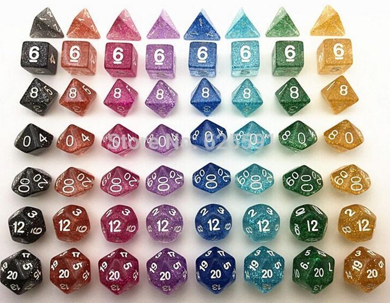 Flash Powder Polyhedral Dice Set RPG Game Sets Dices Games Dice D4 D6 D8 D12 D20 D10 0-9 D10 00-90 #D5