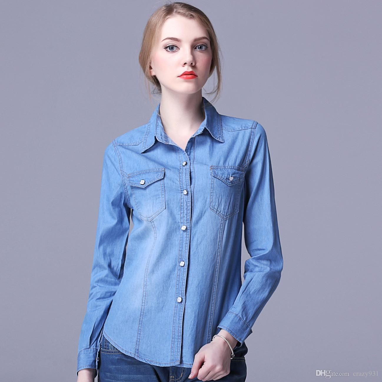 2019 Wholesale Women Fashion Casual Denim Shirts Leisure Fitness Jeans  Shirt Long Sleeve Blue Demin Cowboy Blouses Camisa Masculina From Crazy931 fe24862cb