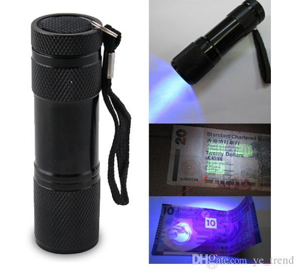 9LED Aluminium Mini Portable UV Ultra Violet Blacklight 9 LED Flashlight Torch Light DHL shipping