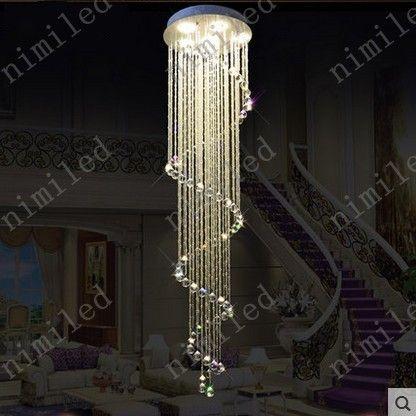 nimi1006 Moderne Duplex Rotation K9 Lustre En Cristal Escalier Pendentif Lumières VillsaPenthouse Salon Lampe Hôtel Lobby Bar Éclairage