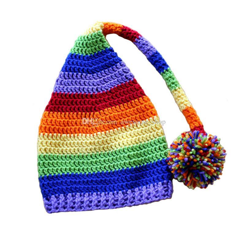 Großhandel Rainbow Stocking Hut, Handgemachte Knit Häkeln Baby Boy ...