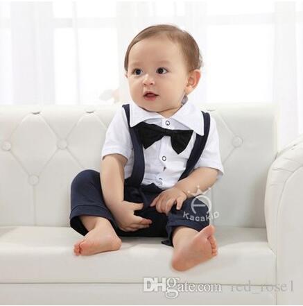 2017 Kinderkleding Babyjongen Romper Gentleman Outfits Korte mouw bretels Broek uit één stuk Rompertjes Baby Onesies Jumpsuits Boy Clothes