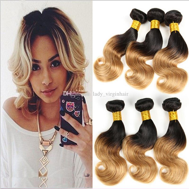 Short Wavy Bob Style Hair Weaves Two Tone Color 1b 27 Honey Blonde