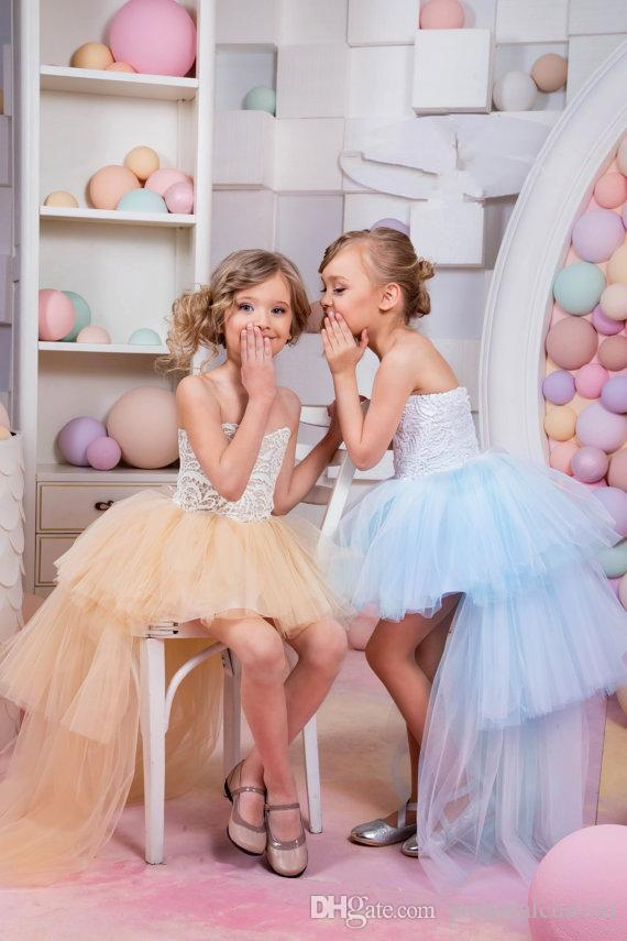 Strapless Ball Gown High Low Flower Girls Dresses Tulle Skirt Tiered ...