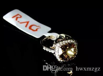 14 K chapado en oro de Europa lujoso retro anillos de piedras preciosas de cristal atmosférico