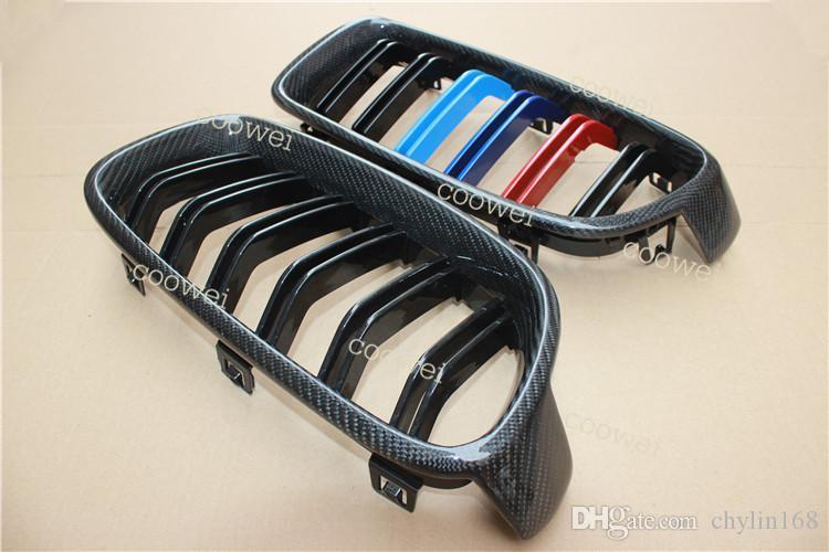 Подлинная углеродного волокна 3 Цвет 3 серии F30 F31 F35 гриль двойной планки глянец черный решетка для bmw 3 серии 318i 320i 328i 330i 335i