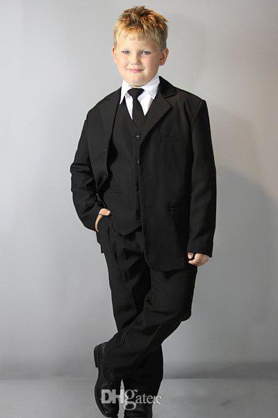Populärer schwarzer Jungen-Anzug für formelle Gelegenheit der Hochzeits-Jungen Kleidung Page Boy Smoking Jacke + Pants + Tie + Vest hübscher G01