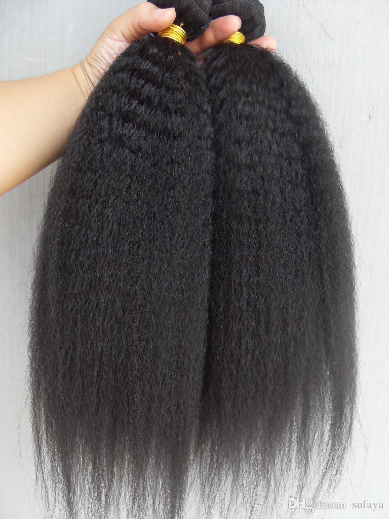 Brazilian Kinky Straight Hair Weft Hair Extensions Unprocessed Curly