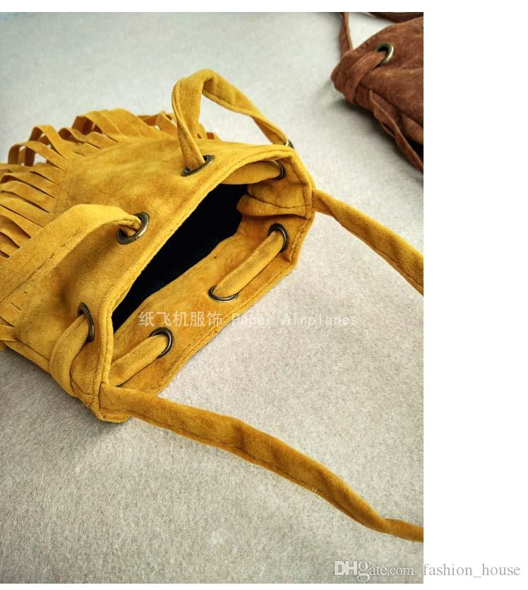 Böhmen Strand Umhängetaschen Kinder Rucksack Handtasche Kinder Einfarbig Quaste Tasche Umhängetasche Geldbörse 2016 Neue Stil Ledertasche Mädchen Taschen