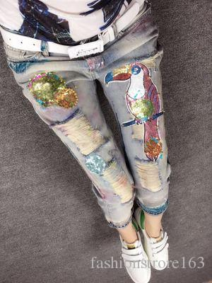 Weihnachtsgeschenk für! 8204 Europäischen Grand Prix 2016 Neue Mode Persönlichkeit Etikettieren Loch Jeans Füße Sweep Spot