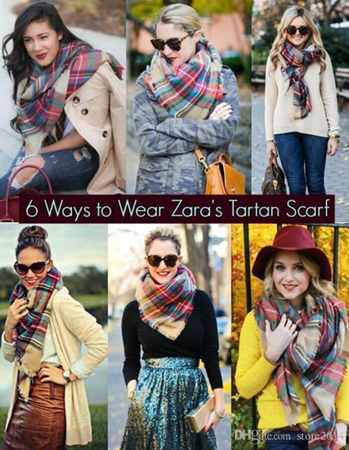 2018Hot Sale Plaid Blanket Scarf Women Tartan Tassels Scarf Grid Shawl Wrap Lattice Neckchief Cashmere Muffler Fashion Winter Check Pashmina