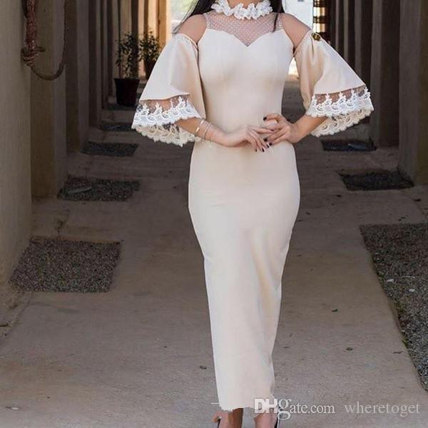 long sleeve ankle length cocktail dresses