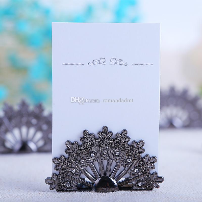 Metal Fan Place Card Holder Alloy Peacock Name Card Holder Wedding