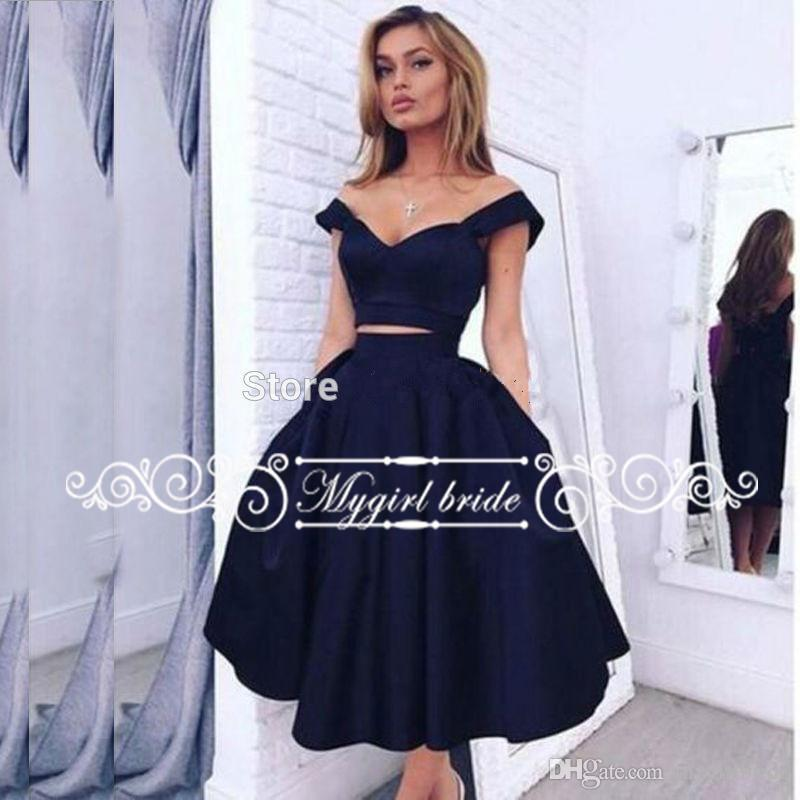 8c988f2baf8 Navy Blue Robe De Cocktail Elegant Sexy Short Cocktail Dresses ...