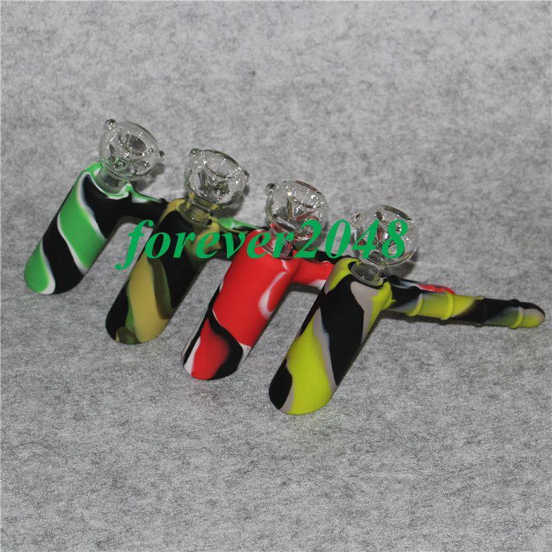 Дешевые в продаже силиконовые водопроводные трубы 18,8 мм совместный силиконовый молоток перколятор барботер курительные трубы стекло гонги ресайклер кальяны