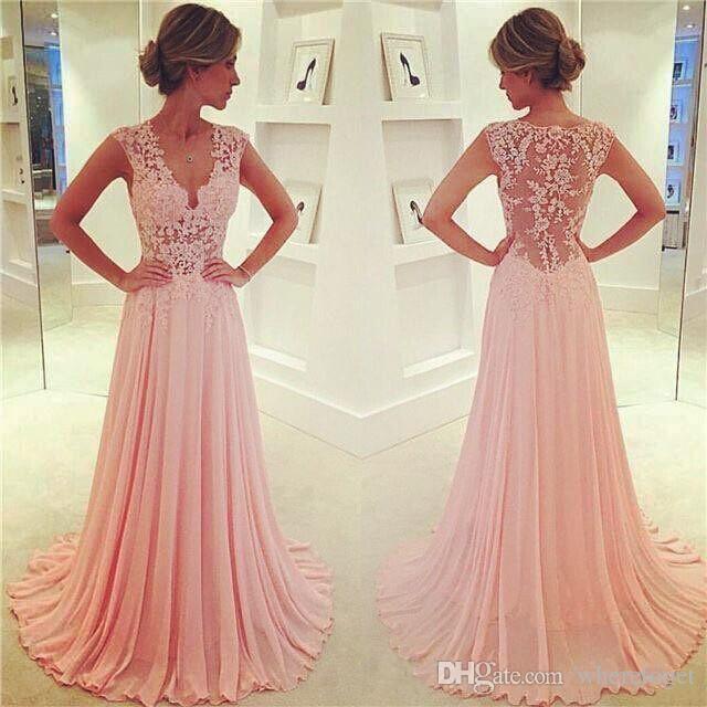 Vintage Sweety Blush Pink una linea di chiffon Prom abiti di pizzo Appliques Immergendo scollo a V pura sexy Maniche Cap partito delle ragazze del vestito convenzionale