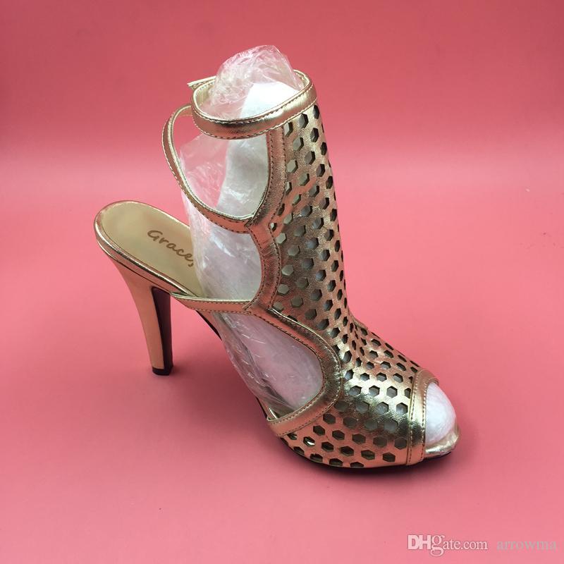 2016 Real Gold Hochzeit Schuhe Brautschuhe Schnalle High Heels Frauen Sommer Stil Sandalen Nach Maß Plus Größe Günstige Modest