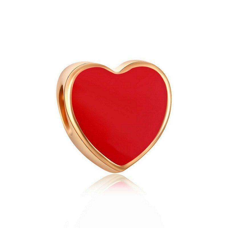 Gold Beads Fit DIY Charm Bracelets Red Heart Charm Bead Fits European Pandora Jewelry Bracelets & Necklace