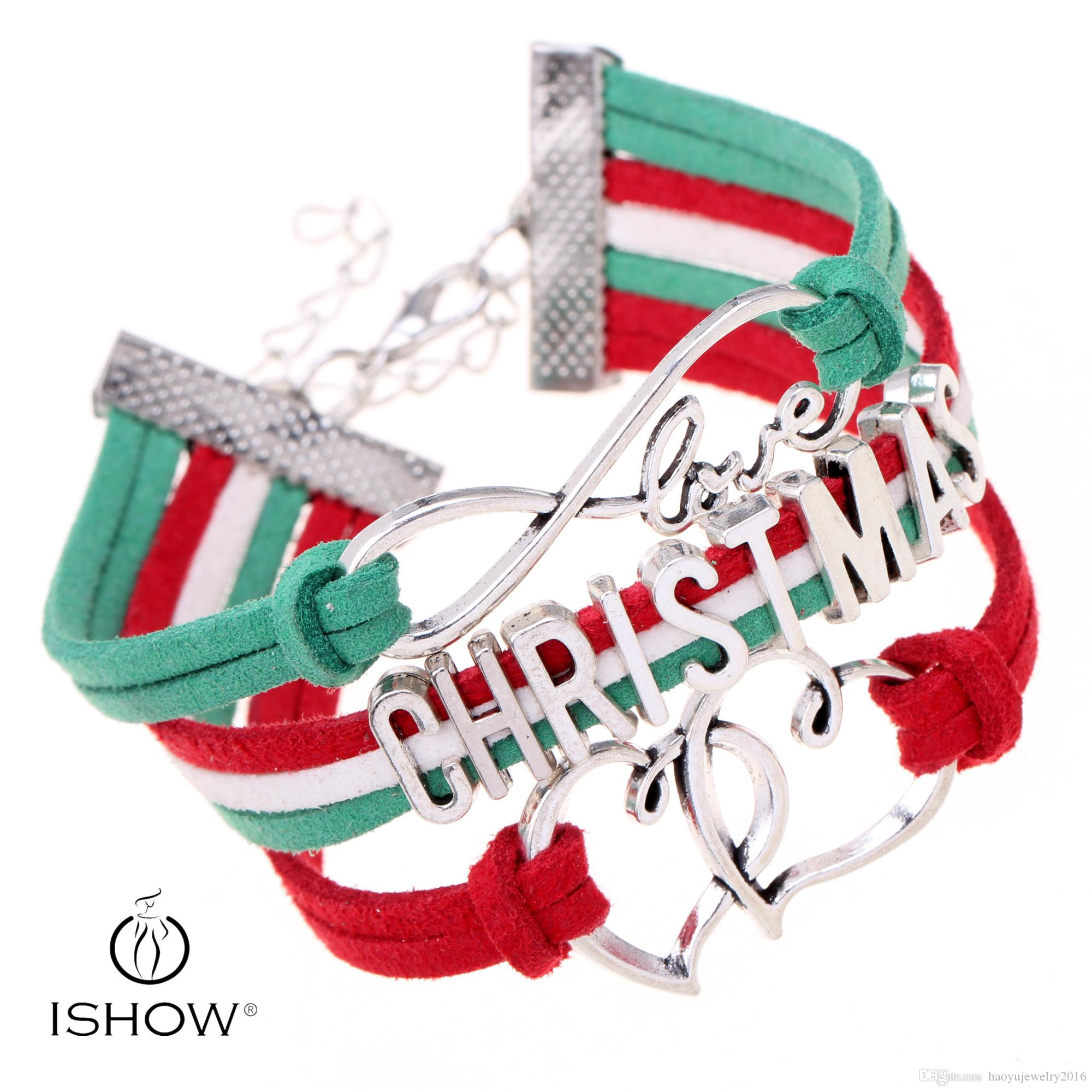 2017 Double Heart Christmas Letter Charm Bracelets Green Red Velvet