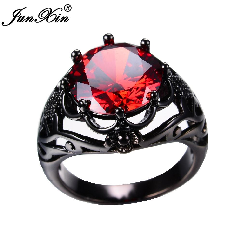 JUNXIN European Style Men Women Big Ruby Red Ring Black Gold Filled Vintage Wedding Rings For And Fashion Jewelry Cheap High Quality
