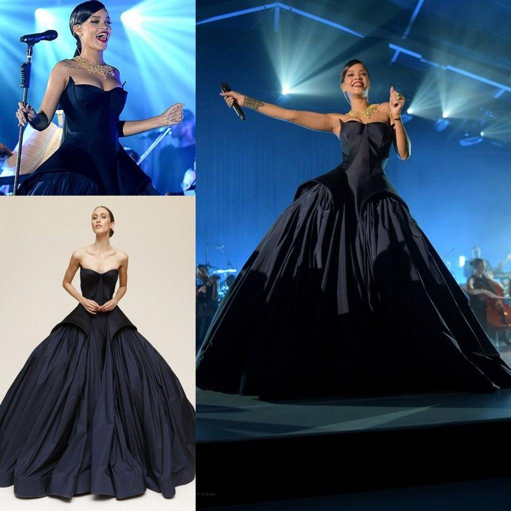 Rihanna In Zac Posen 2016 Amazing Dark Navy Ball Gown Prom Dresses ...