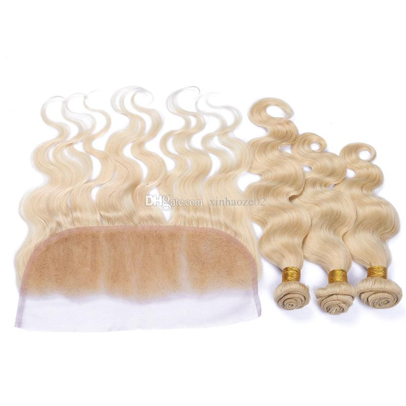 #613 13X4 Russian Body wave lace frontal closure with bundles human hair wave Blonde virgin hair weaves with frontal