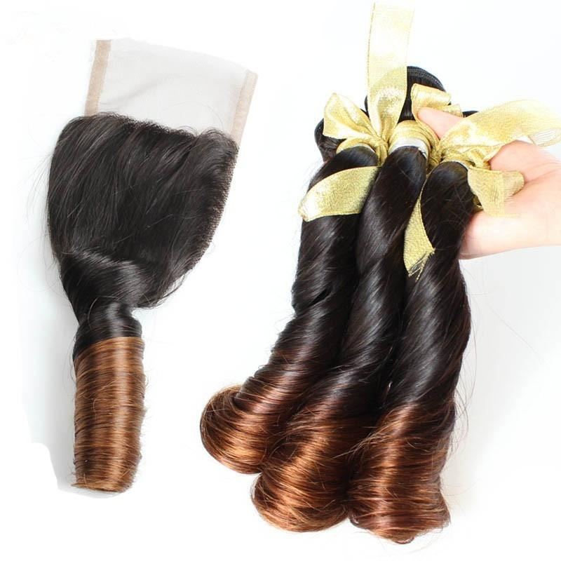 8a Aunty Funmi Hair Curls 3 bundles Brazilian Spring Curly With 4*4 Lace Closure Ombre Two Tone Color 1b/4# Human Hair Weave