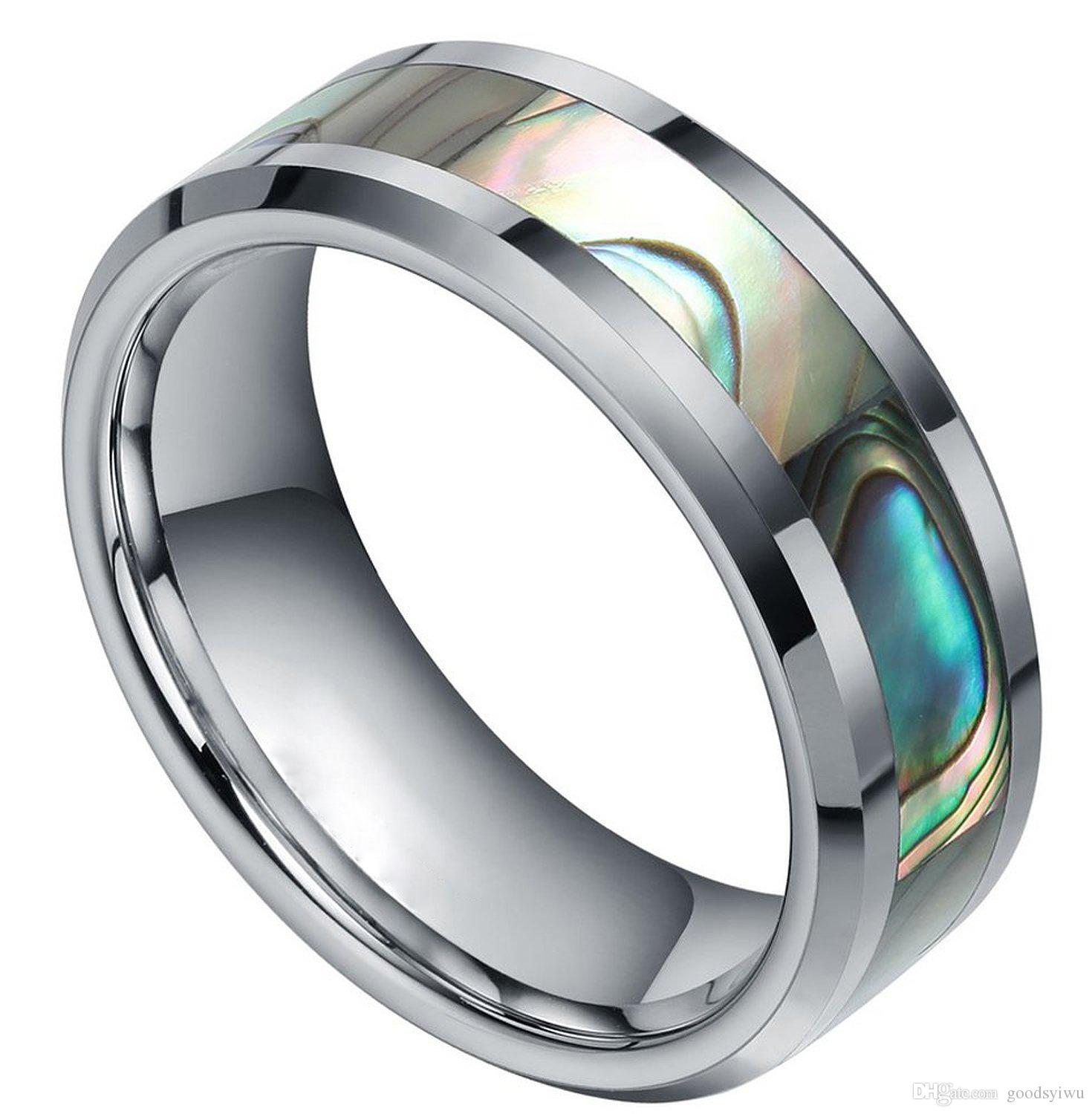 High quality large size 316 Titanium Stainless Steel colorful shell Statement band ring men women Silver/gold/balck/blue