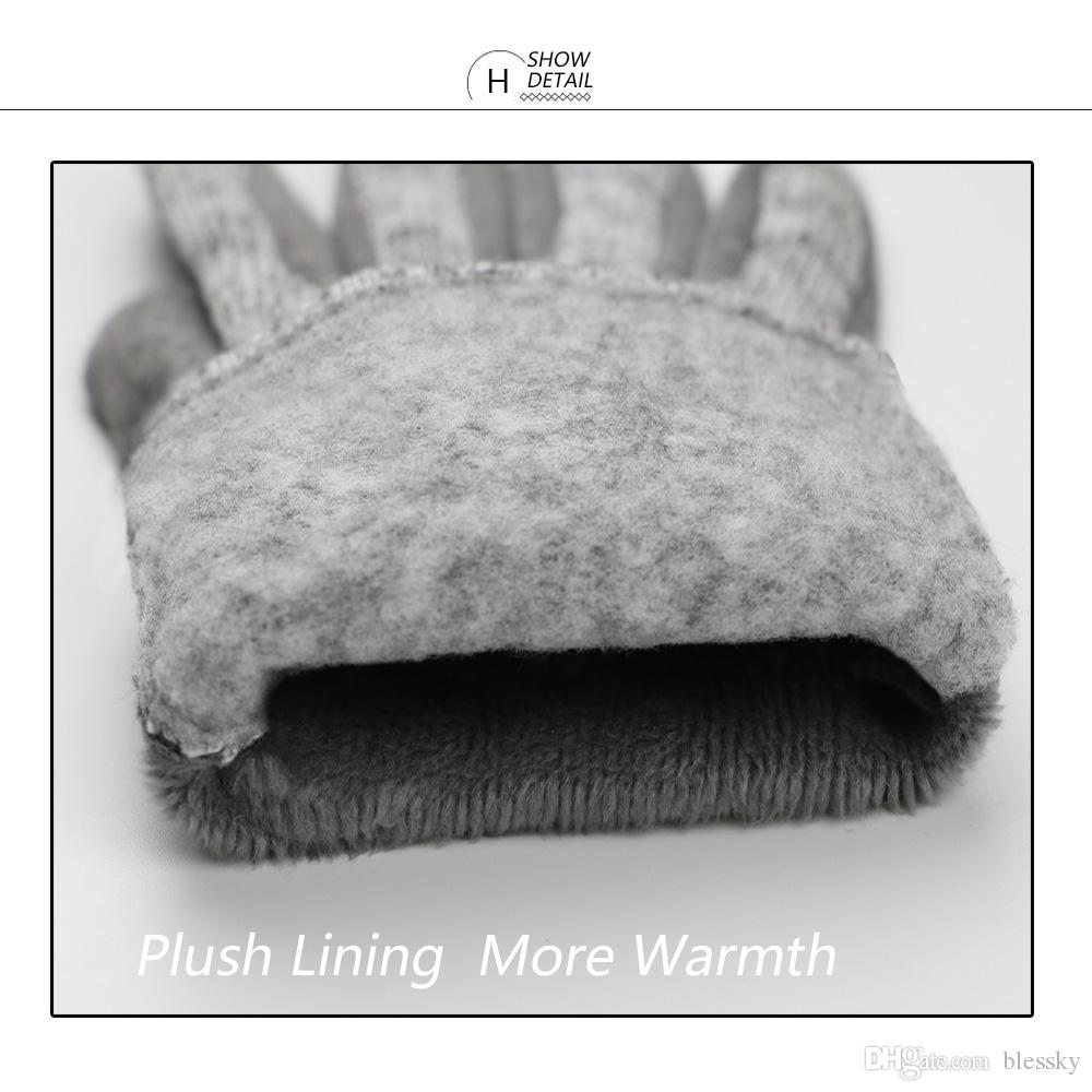 Lady Winter Wrist Ladies guantes de cachemira para la pantalla táctil Female Rabbit Fur Wool Mittens Guante elegante todo partido Mitaine Guantes