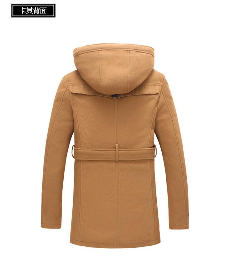 Nouvelle Automne De Mode Marque-Vêtements Veste Hommes Manteau En Laine Nouveau Design Pea Manteaux Hommes Détachable À Capuche Trench Manteau D'hiver Hommes 5XL YH-151