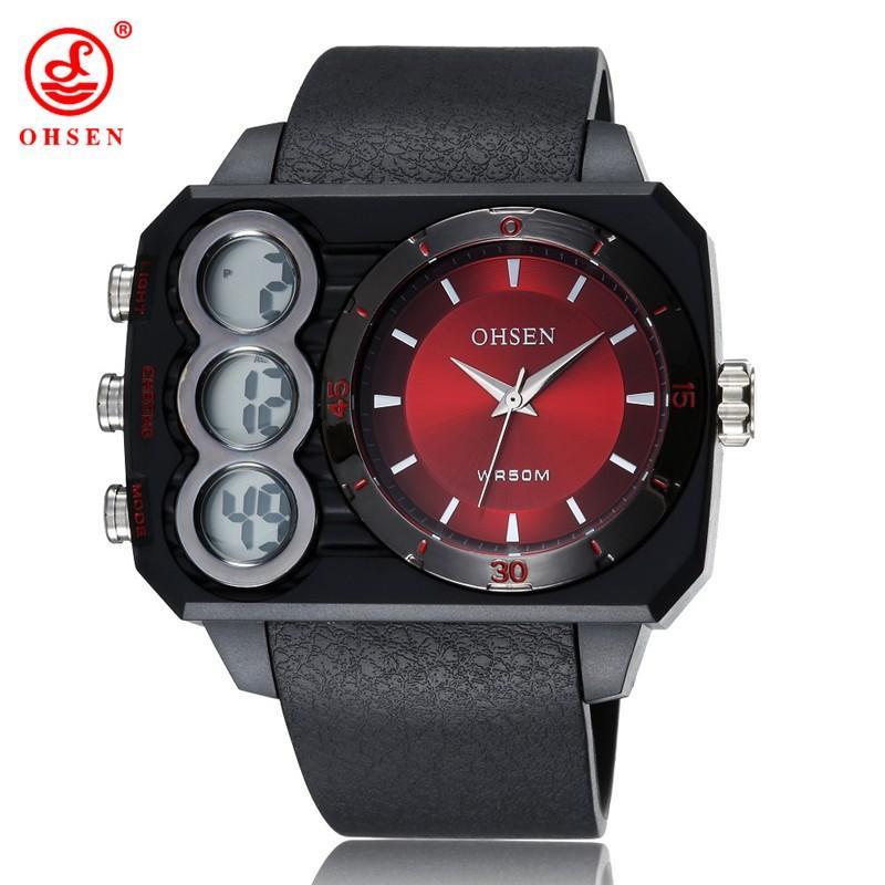 5d0aafa41f6 New OHSEN AD1503 Men Sports Watches Analog Digital Quartz 3ATM Waterproof  Dive Fashion Military Watch Relogio Male Clock Gifts Waterproof Watch Watch  Deals ...