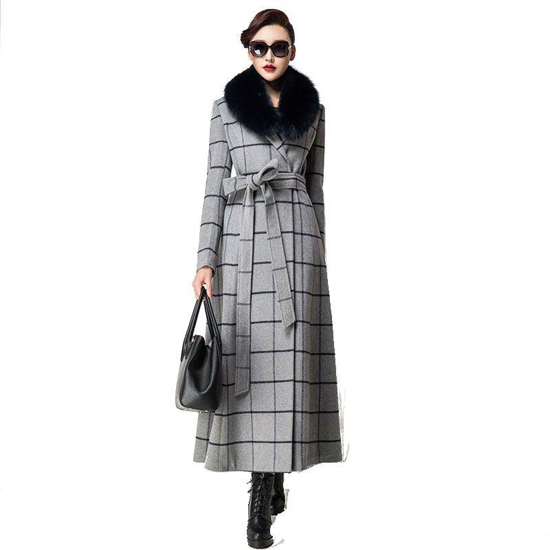 2a04a83a0 Compre Ultra Longo Casaco De Inverno 2016 Das Mulheres Da Moda S 4XL Plus  Size Casaco De Lã Casaco De Manga Longa Gola De Pele Feminino De Lã Outwear  De ...