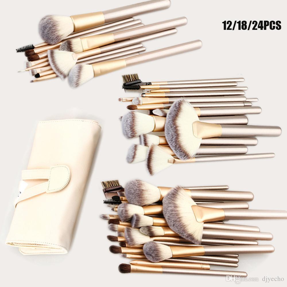 Luxe Professional 12/18 / maquillage Pinceaux cosmétiques Fondation Kits d'ombres à paupières blush + Sac en cuir Maquiagem Champagne