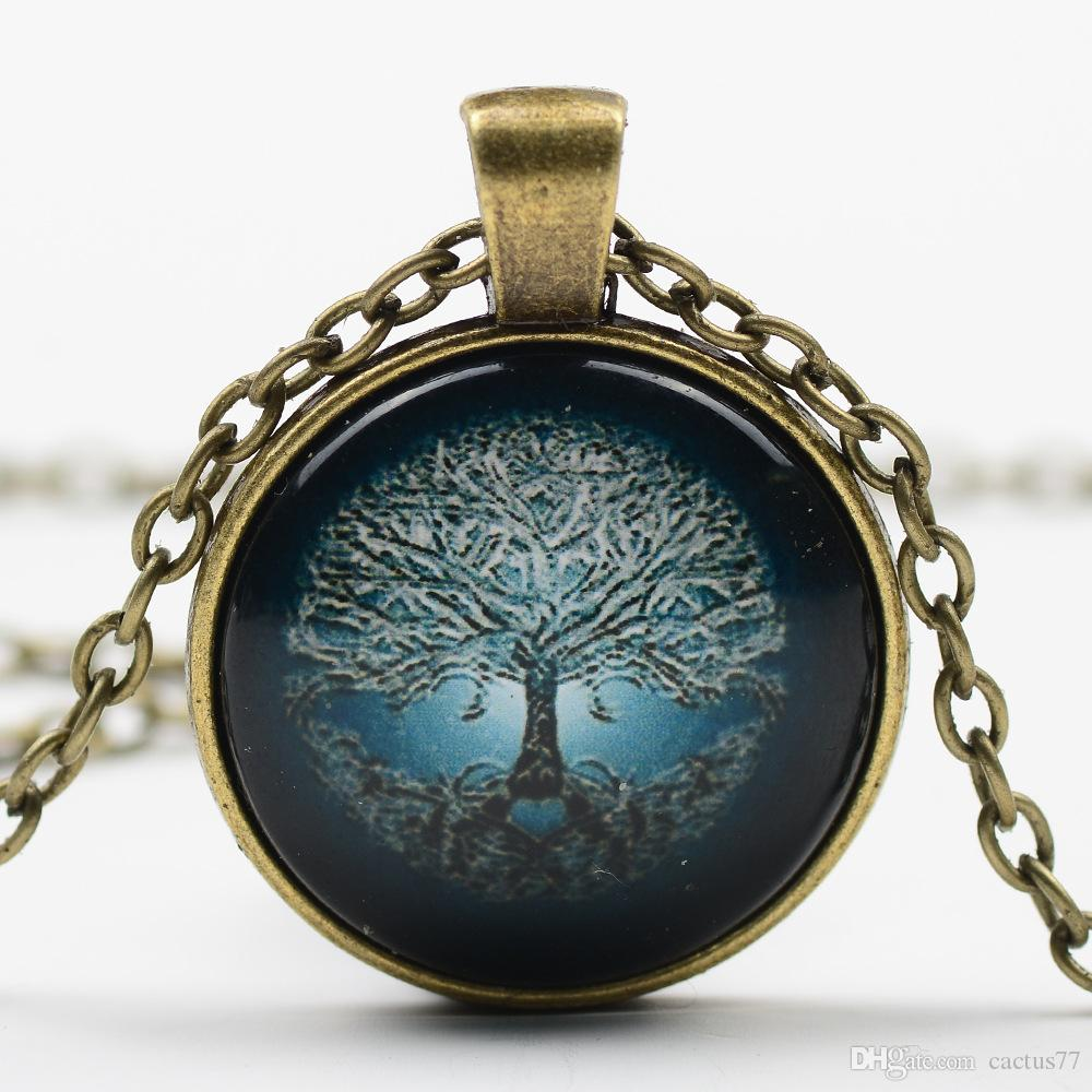 Hot Vintage Living Tree of Life Glass Cabochon Bronze silver Chain art and the thought of the tree Pendant Necklace Nice Jewelry Accessary
