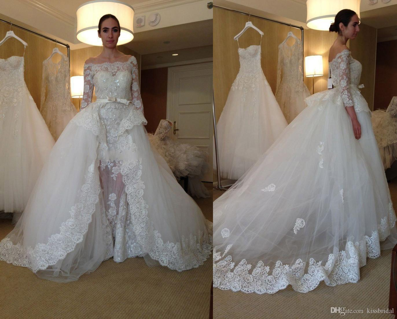 Wholesale Wedding Gowns In Usa: Discount New Detachable Train Wedding Dresses Long 2016