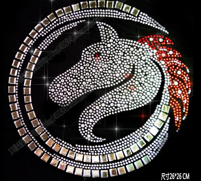 Special new design DIY 26*26cm bling crystal patterns clothing accessories Hot Fix Rhinestones motif Heat Transfer on Design Iron On clothes
