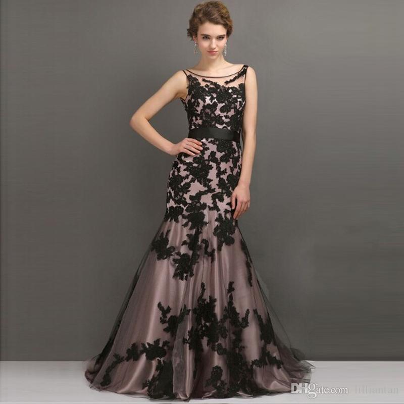 ba00f3499f21f Custom Made Beautiful Female Black Appliqued Prom Dress 2016 Tulle Vintage  Mermaid Long Evening Party Gown With Sash Good Design Designer Long Evening  ...