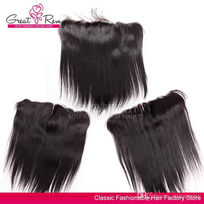 13x4 Ear to Ear Lace Frontal Brazilian Virgin Hair Pieces Unprocessed Silky Straight Lace Frontal Human Hair Extensions Greatremy