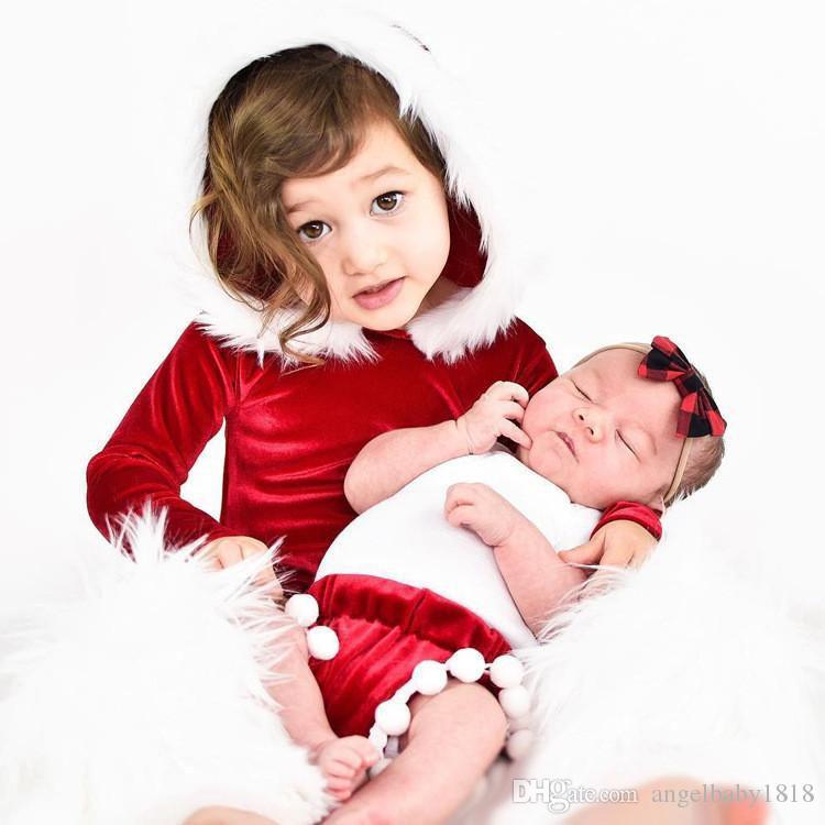 Vestiti di Natale Neonata con cappuccio Pagliaccetto Bambini Pleuche Tinta unita Tute manica lunga con cappello di pelliccia