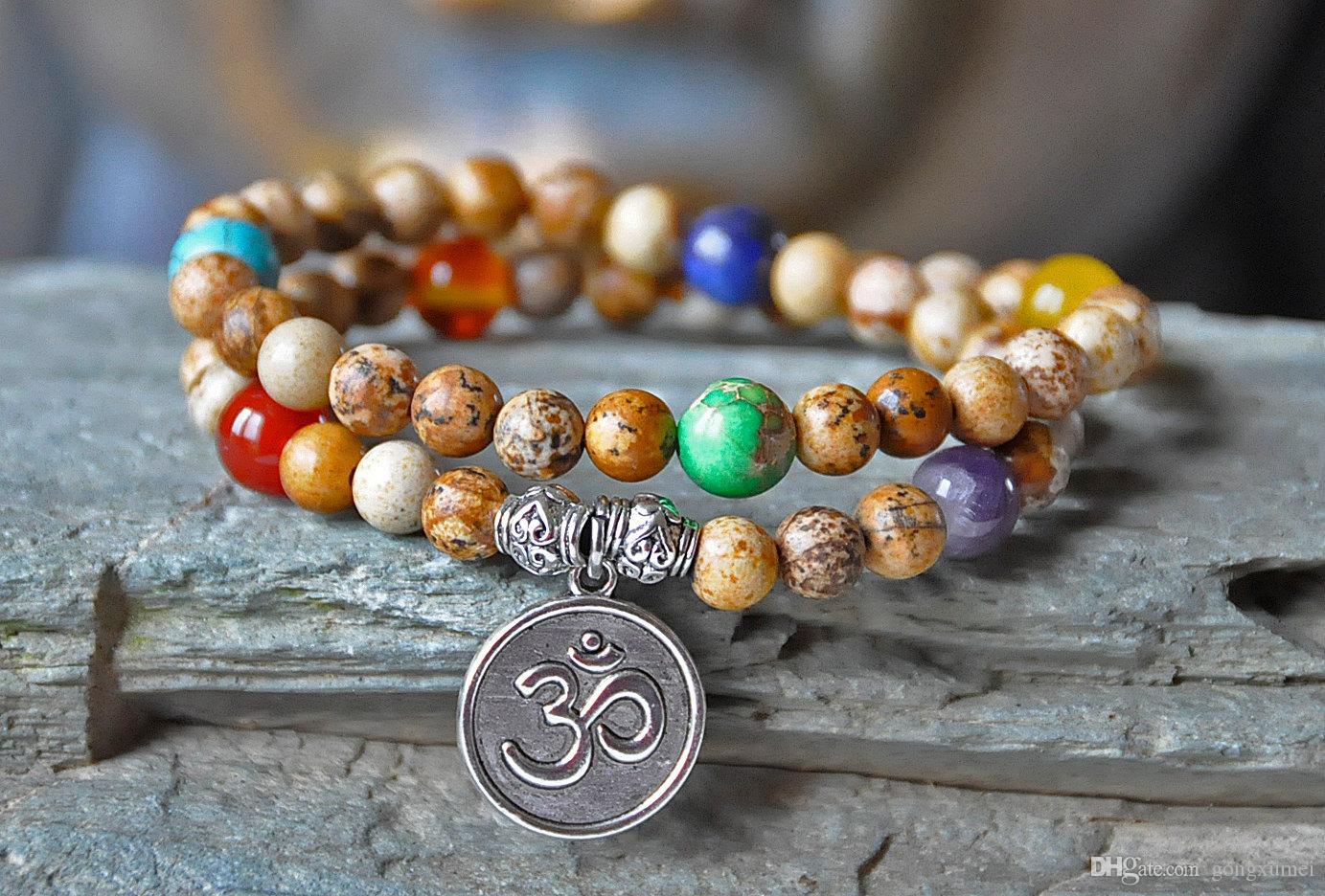 Proteção 54 contas de Mala, pulseira de cura mala, Imagine Jasper mala, meditação de yoga OM, mantra, mala budista, gemstone mala, envoltório de mala de chakra
