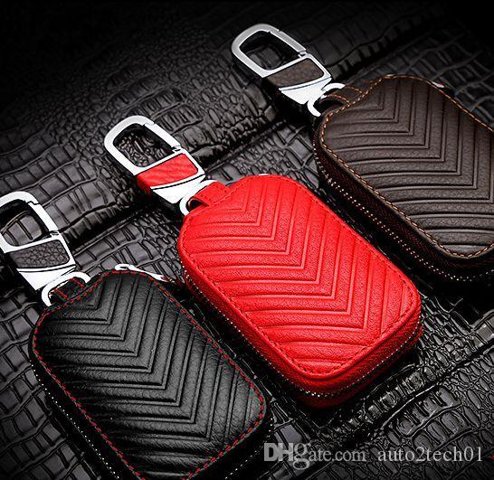 Di alta qualità di chiave dell'automobile Bag chiave auto portafoglio catena copertura del supporto di caso in pelle con cerniera Borsa chiave Tutti Model Car
